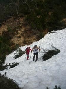 Stefano e Tulia durante la salita nella valletta