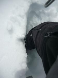 Neve pesante che ci fa sprofondare praticamente sempre fino almeno al ginocchio