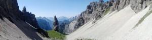 Panoramica della valle da forcella Montanaia