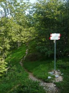 Secondo bivio e il sentiero in direzione della cima