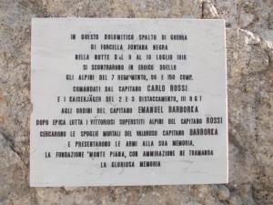 Tabella a forcella Fontana Negra