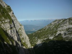 Vista dalla forcella verso le Dolomiti