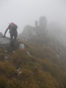 In cresta verso la cima del Rodolino