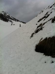 Entrando nella valle, neve e pendenza