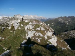 In vetta a Le Cime a quota 2296 metri slm, dietro le Pale di San Martino
