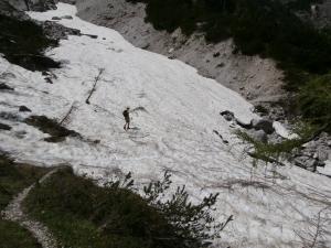 Il nevai sul sentiero di rientro