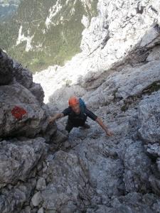 Michele nell'ultimo tratto in cui si arrampica