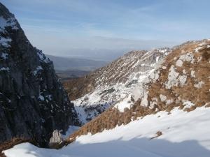 Vista verso le Dolomiti dalla forcella