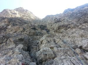 In arrampicata sul tratto di III+ del secondo tiro