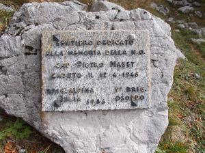 Targa dedicata a Pietro Maset
