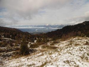 Dalla cima del Col Cornier verso l'Alpago