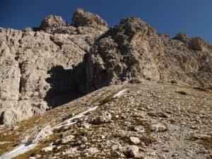 Le pareti Ovest del monte Bortolusc viste da forcella delle Pregoane