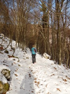 Sentiero CAI 984, inizia la neve oltre la Val de Lama