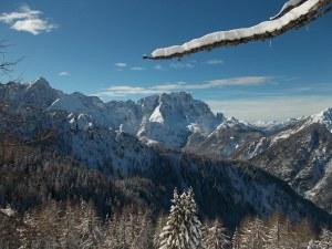 Il Montasio in veste invernale dalla sella prima della cima