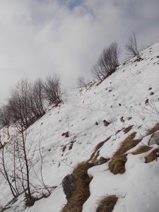 Comincia la neve lungo il sentiero
