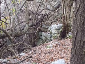 Quello che resta di una vecchia casera lungo il sentiero