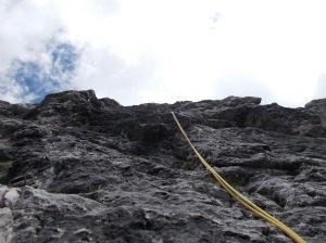 Un tratto di bella roccia lungo la salita